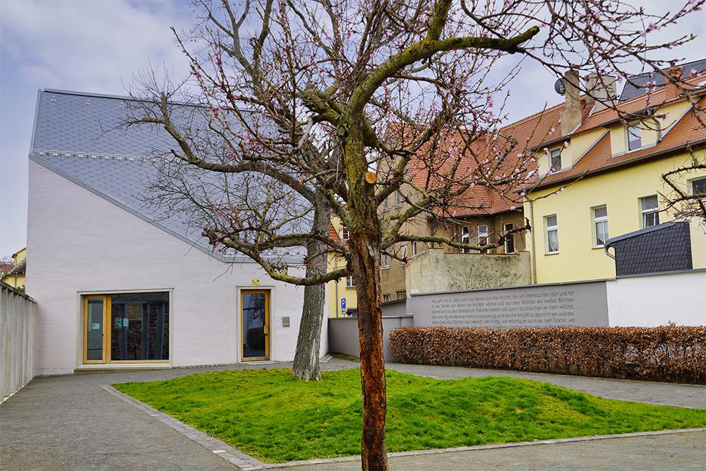 Schöpfungsgarten und Rückansicht des Lutherarchivs, Lutherstadt Eisleben